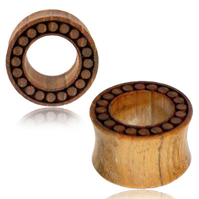 Dot Engraved Teak Wood Tunnels