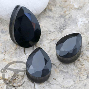 Faceted Teardrop Black Onyx Plugs