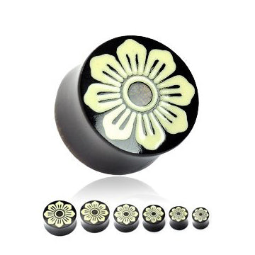 Flower Inlay Horn Plugs