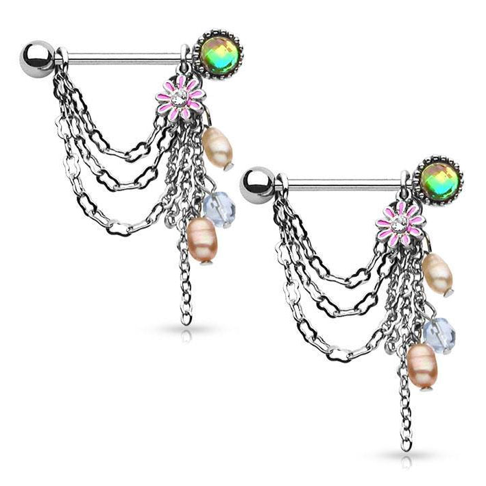 Flower & Pearl Nipple Stirrups