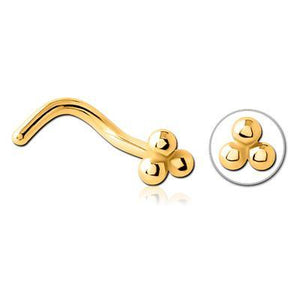 Gold Plated 3-Ball Nostril Screw