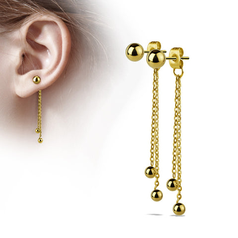 Gold Plated Ball Chain Stud Earrings