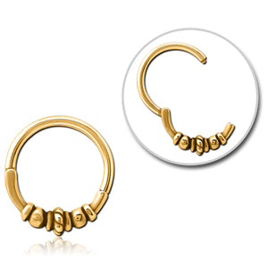 Gold Plated Rope & Bali Hinged Ring