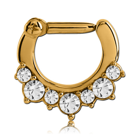 Gold Plated CZ Crown Septum Clicker