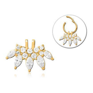 Gold Plated CZ Fan Ring Charm
