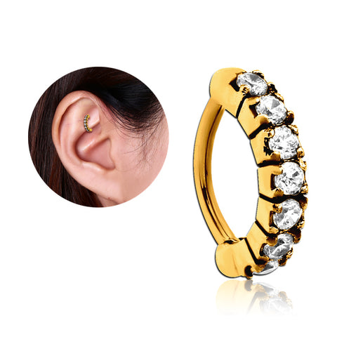 Gold Plated CZ Paved Cartilage Clicker