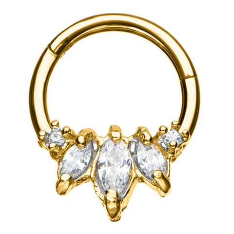 Gold Plated CZ Princess Hinged Ring
