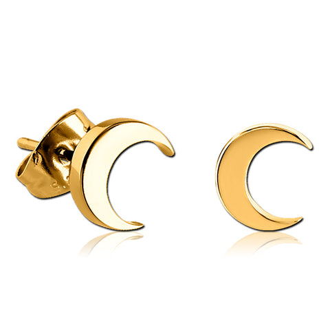 Gold Plated Crescent Moon Earrings