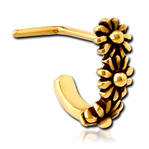 Gold Plated Daisy L-Bend Nose Hoop
