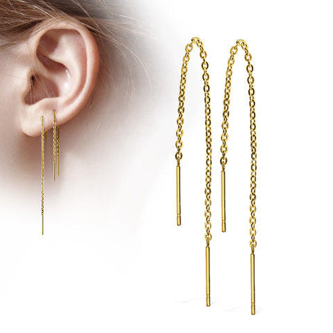 Gold Plated Free Fall Double Bar Chain Earrings
