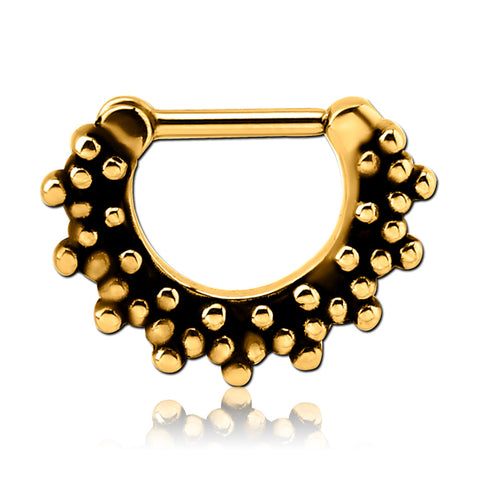 Gold Plated Multi-Beaded Septum Clicker