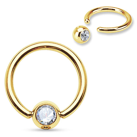 Gold Plated CZ Captive Bead Ring