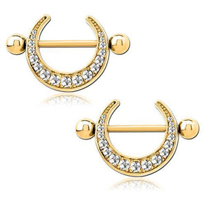Gold Plated CZ Crescent Nipple Shields