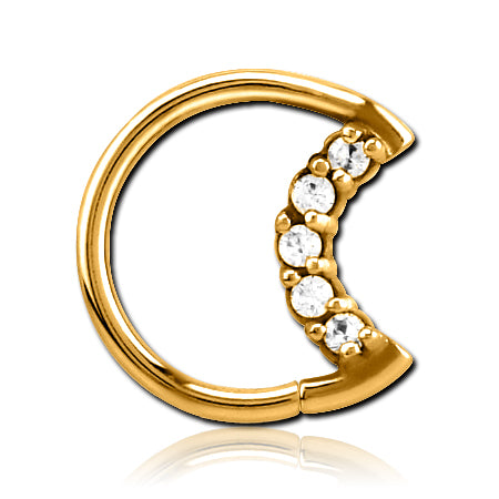 Gold Plated CZ Moon Shaped Ring