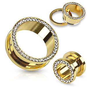 Gold Plated CZ Screw-On Tunnels