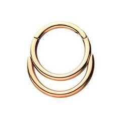 Rose Gold Plated Double Stack Hinged Ring
