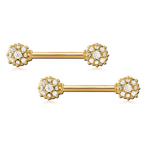 Gold Plated CZ Flower Nipple Barbells