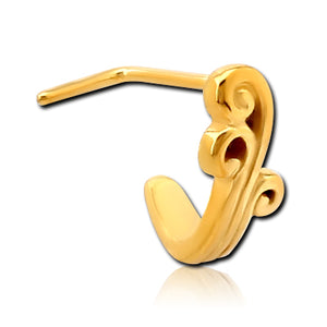 Gold Plated Fountain L-Bend Nose Hoop