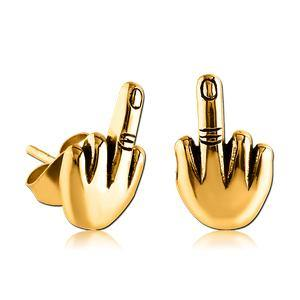 Gold Plated Middle Finger Earrings