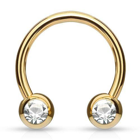 Gold Plated Side-set CZ Circular Barbell