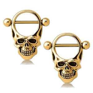 Gold Plated Skull Nipple Shields