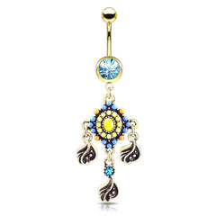 Gold Plated Tribal Bead Belly Dangle