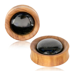 Golden Obsidian Olive Wood Plugs