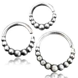 16g Graduated Beads .925 Silver Continuous Ring