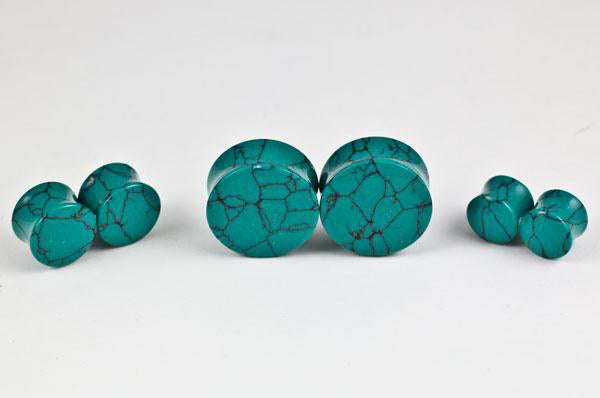 Dark Green Spiderweb Turquoise Plugs by Oracle Body Jewelry
