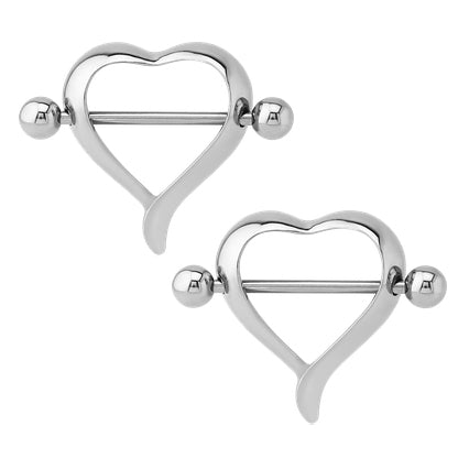 Stainless Heart Nipple Shields
