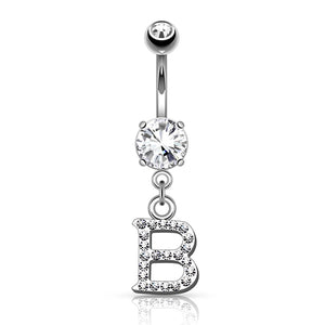CZ Letter Belly Dangle