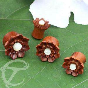 Mother of Pearl & Sawo Wood Flower Plugs