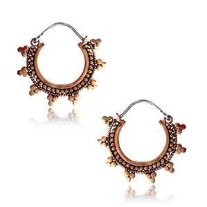 Medium Rose Brass Dotted Earrings