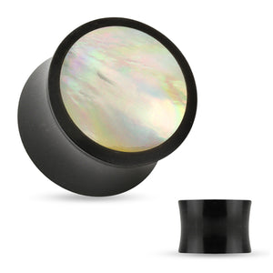 Mother of Pearl Inlay Horn Plugs