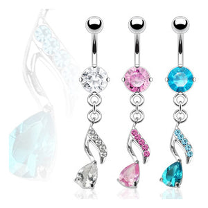 CZ Musical Note Belly Dangle