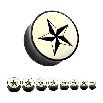 Nautical Star Inlay Horn Plugs