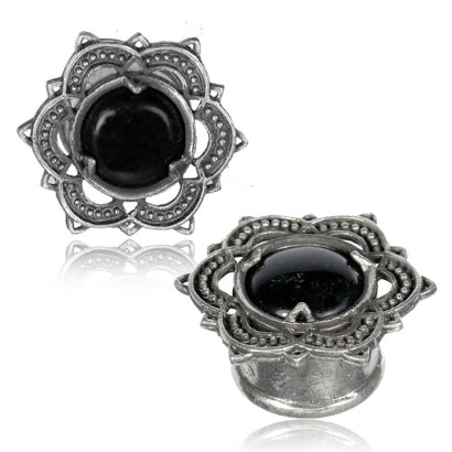 White Brass & Onyx Bali Lotus Plugs