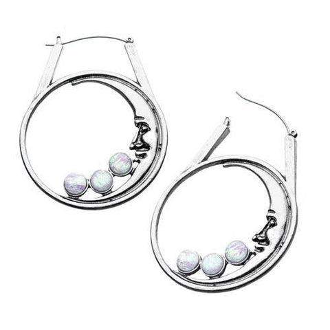 Opal Moon Tunnel Hoop Earrings