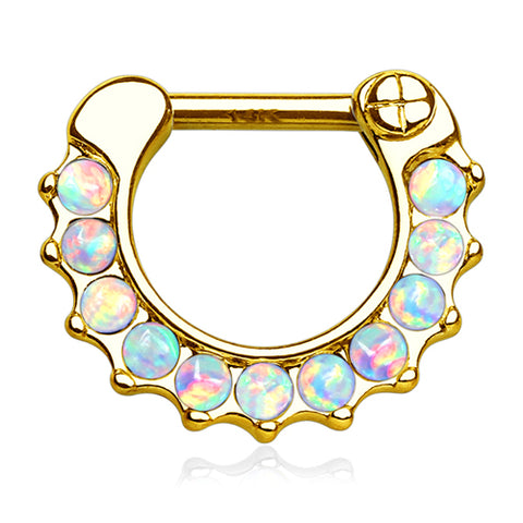 Opal Paved Yellow 14k Gold Septum Clicker
