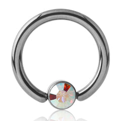 Titanium CZ Disc Captive Bead Ring