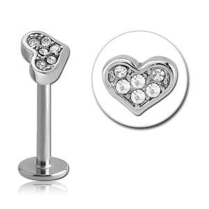 Stainless Paved Heart Labret