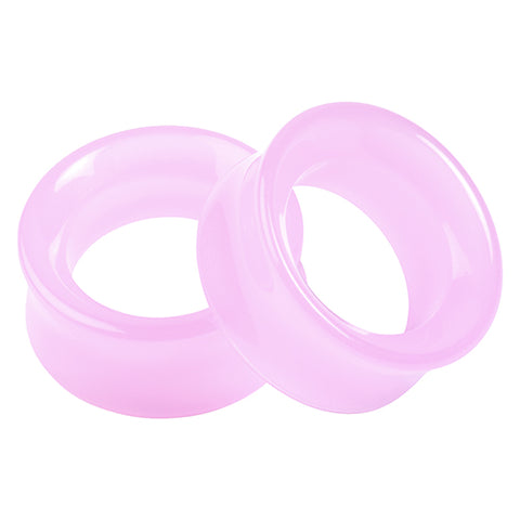 Double Flare Pink Glass Tunnels