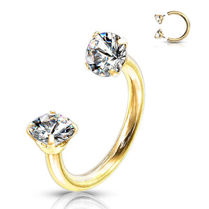 16g Gold Plated Prong CZ Circular Barbell
