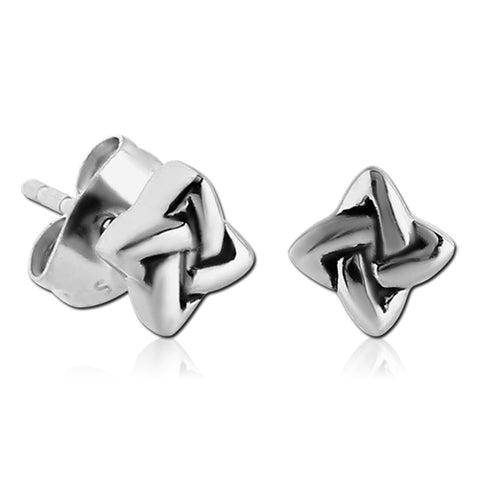 Stainless Quaternary Knot Earrings