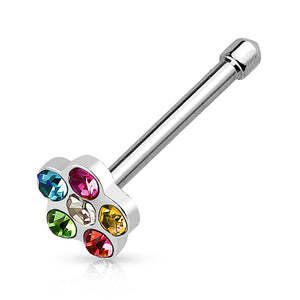Stainless Gem Flower Nose Bone