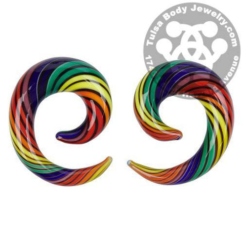 Double Rainbow Glass Spirals