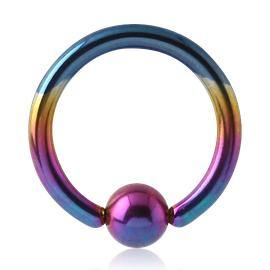 Rainbow Titanium Captive Bead Ring