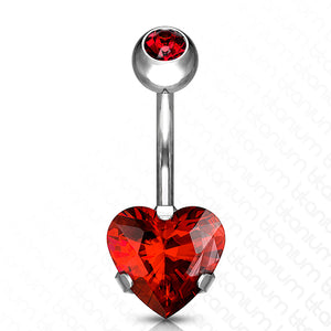 Titanium Heart CZ Belly Ring