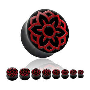 Red Lotus Inlay Horn Plugs