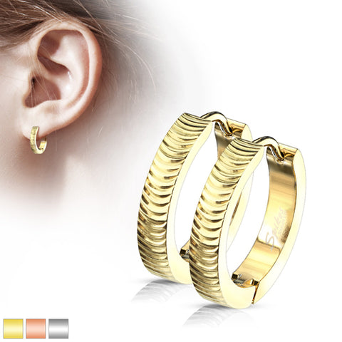 Ripple Hinged Hoop Earrings